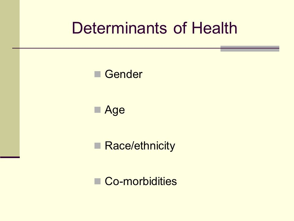 Determinants of Health Gender Age Race/ethnicity Co-morbidities