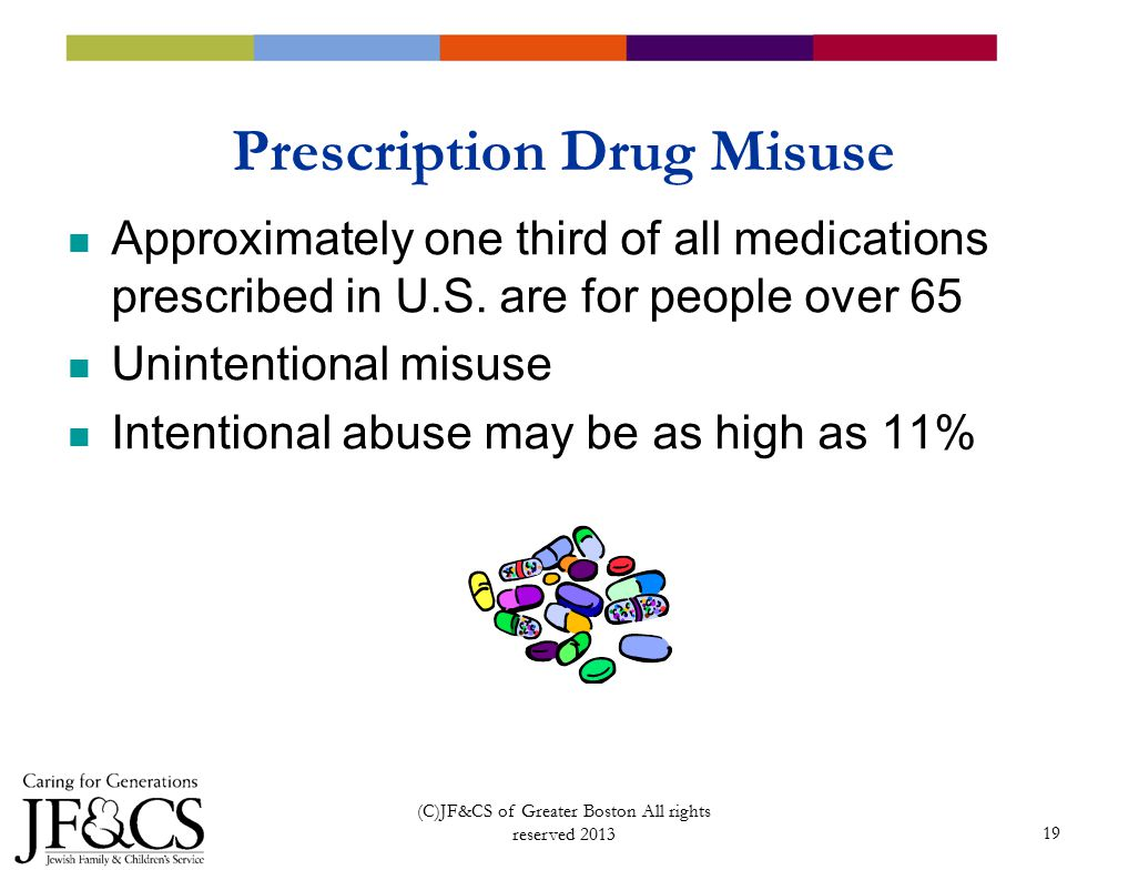 19 Prescription Drug Misuse Approximately one third of all medications prescribed in U.S.
