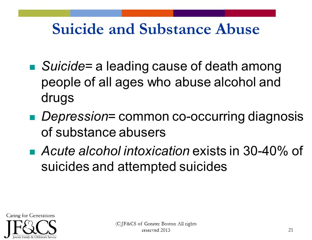 21 Suicide and Substance Abuse Suicide= a leading cause of death among people of all ages who abuse alcohol and drugs Depression= common co-occurring diagnosis of substance abusers Acute alcohol intoxication exists in 30-40% of suicides and attempted suicides (C)JF&CS of Greater Boston All rights reserved 2013