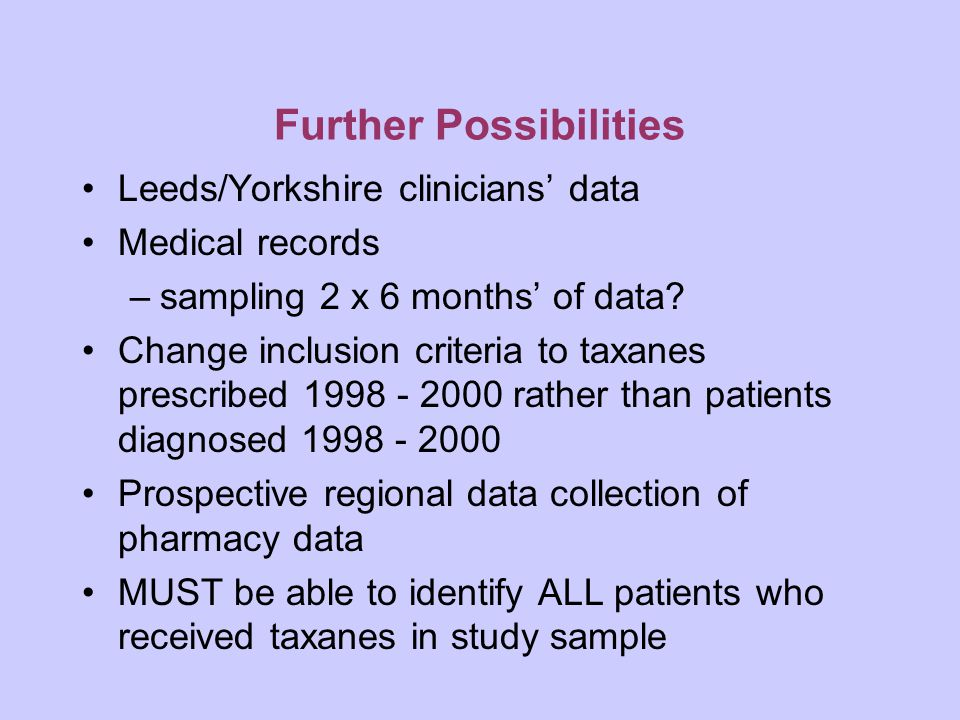 Further Possibilities Leeds/Yorkshire clinicians' data Medical records –sampling 2 x 6 months' of data.