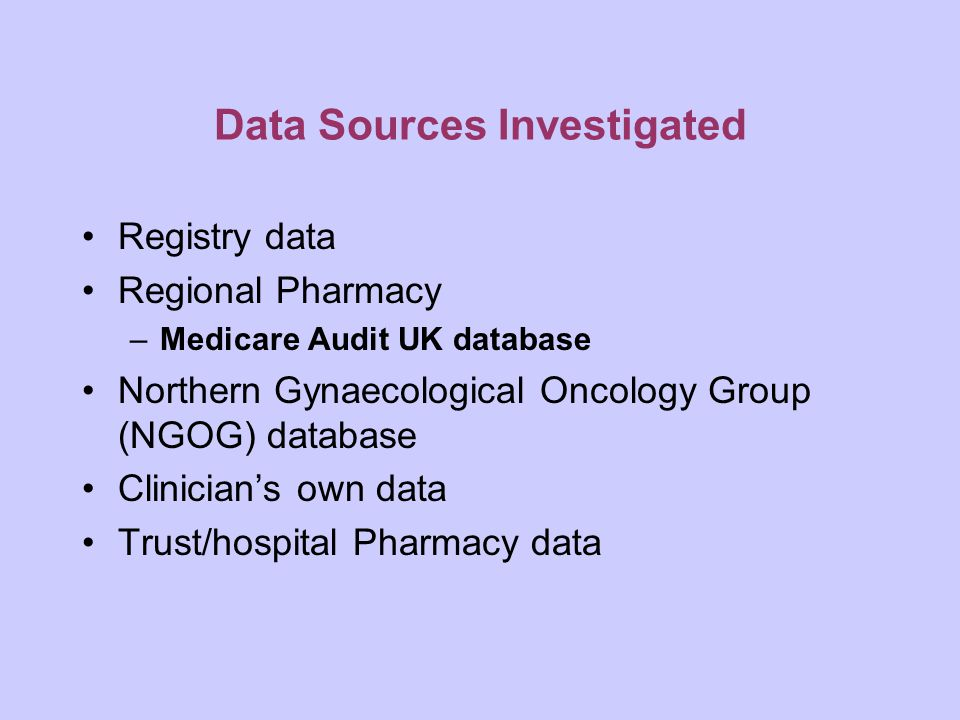 Data Sources Investigated Registry data Regional Pharmacy –Medicare Audit UK database Northern Gynaecological Oncology Group (NGOG) database Clinician's own data Trust/hospital Pharmacy data