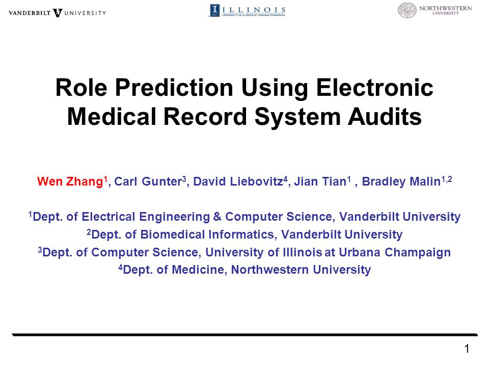 Role Prediction Using Electronic Medical Record System Audits Wen Zhang 1, Carl Gunter 3, David Liebovitz 4, Jian Tian 1, Bradley Malin 1,2 1 Dept.