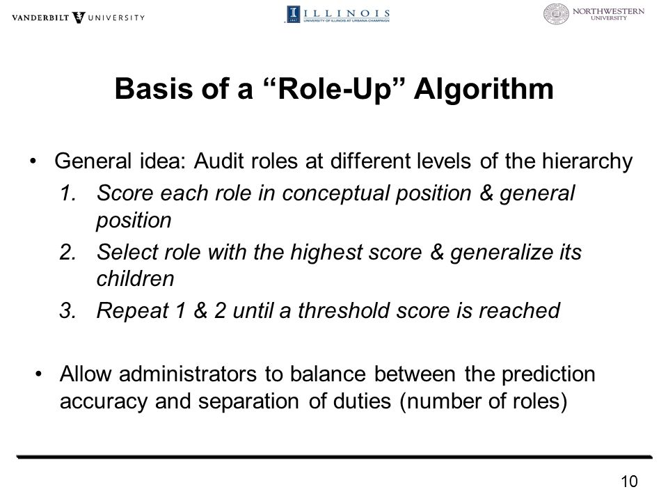 Basis of a Role-Up Algorithm General idea: Audit roles at different levels of the hierarchy 1.Score each role in conceptual position & general position 2.Select role with the highest score & generalize its children 3.Repeat 1 & 2 until a threshold score is reached 10 Allow administrators to balance between the prediction accuracy and separation of duties (number of roles)