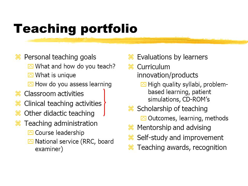 Teaching portfolio zPersonal teaching goals yWhat and how do you teach.
