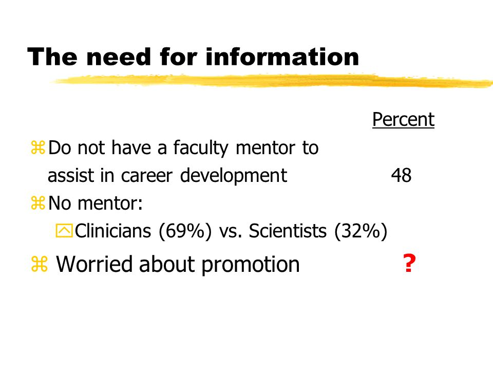 The need for information Percent zDo not have a faculty mentor to assist in career development 48 zNo mentor: yClinicians (69%) vs.