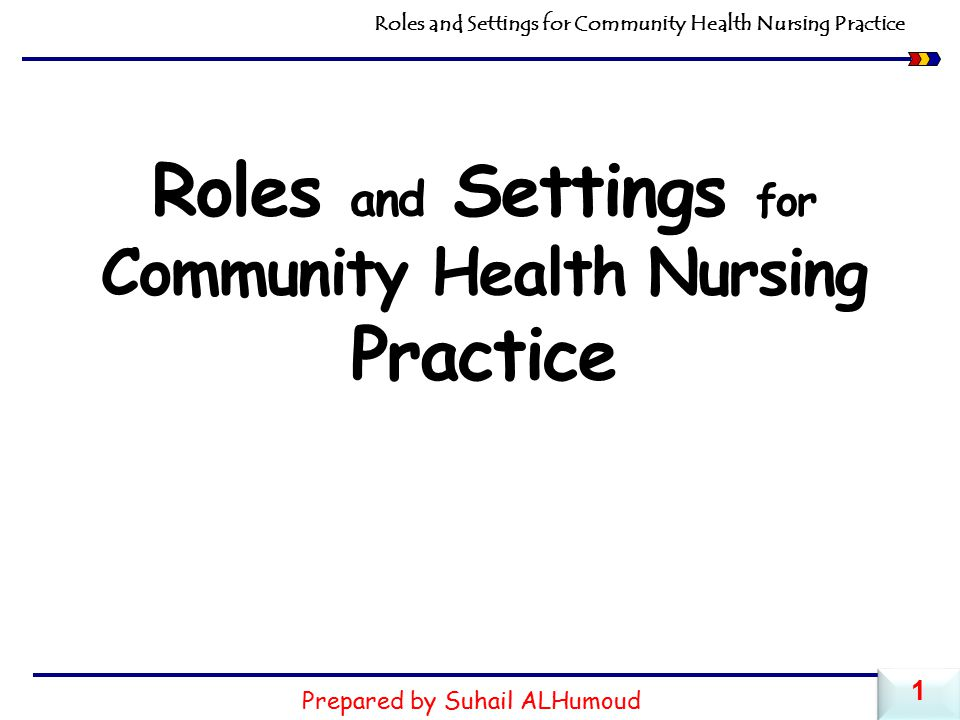 Roles and Settings for Community Health Nursing Practice Prepared by Suhail ALHumoud 1 1