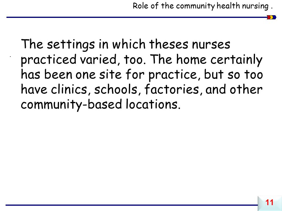 Role of the community health nursing..The settings in which theses nurses practiced varied, too.