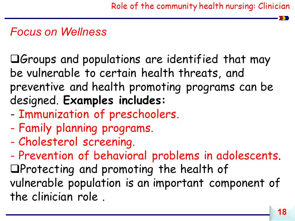 Role of the community health nursing: Clinician.