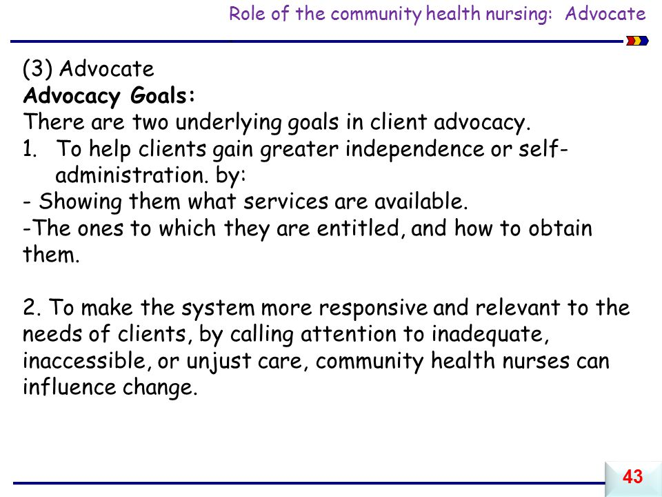 Role of the community health nursing: Advocate.