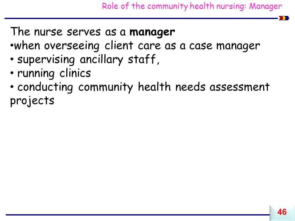 Role of the community health nursing: Manager The nurse serves as a manager when overseeing client care as a case manager supervising ancillary staff, running clinics conducting community health needs assessment projects 46
