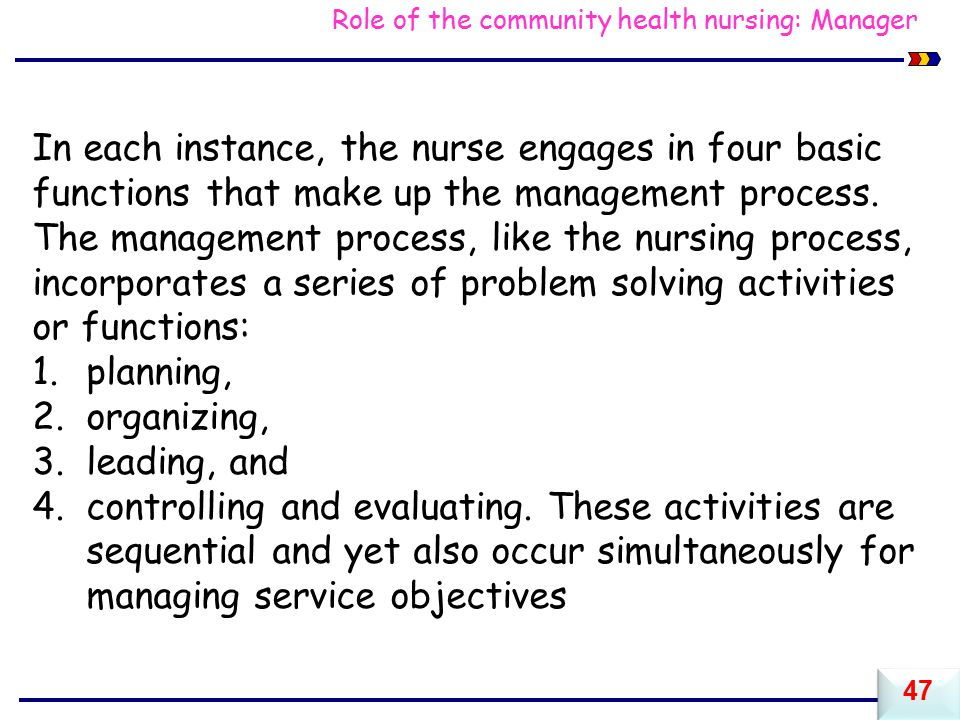 Role of the community health nursing: Manager In each instance, the nurse engages in four basic functions that make up the management process.