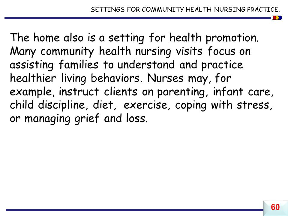 SETTINGS FOR COMMUNITY HEALTH NURSING PRACTICE.The home also is a setting for health promotion.