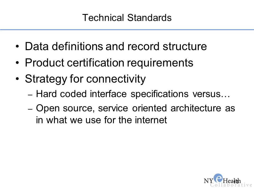 Technical Standards Data definitions and record structure Product certification requirements Strategy for connectivity – Hard coded interface specific