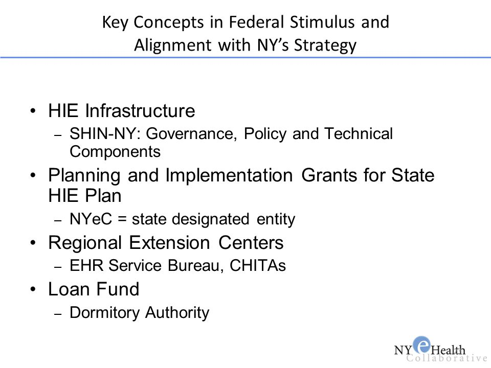 23 HIE Infrastructure – SHIN-NY: Governance, Policy and Technical Components Planning and Implementation Grants for State HIE Plan – NYeC = state desi
