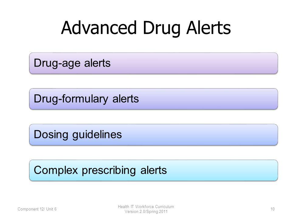 Advanced Drug Alerts Drug-age alerts Drug-formulary alerts Dosing guidelines Complex prescribing alerts Component 12/ Unit 610 Health IT Workforce Curriculum Version 2.0/Spring 2011
