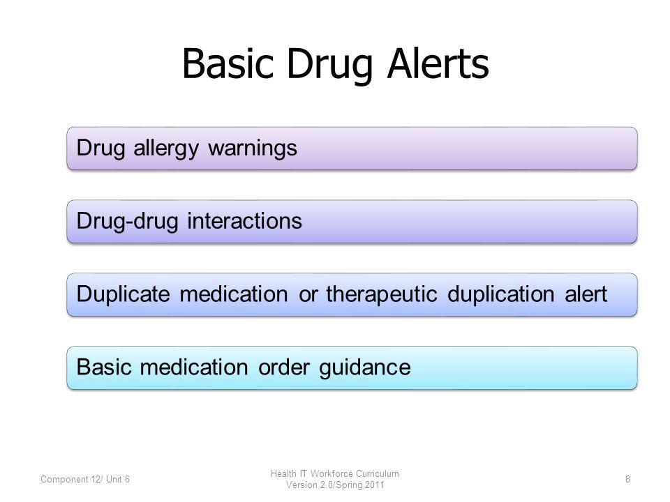 Basic Drug Alerts Drug allergy warningsDrug-drug interactionsDuplicate medication or therapeutic duplication alertBasic medication order guidance Component 12/ Unit 68 Health IT Workforce Curriculum Version 2.0/Spring 2011