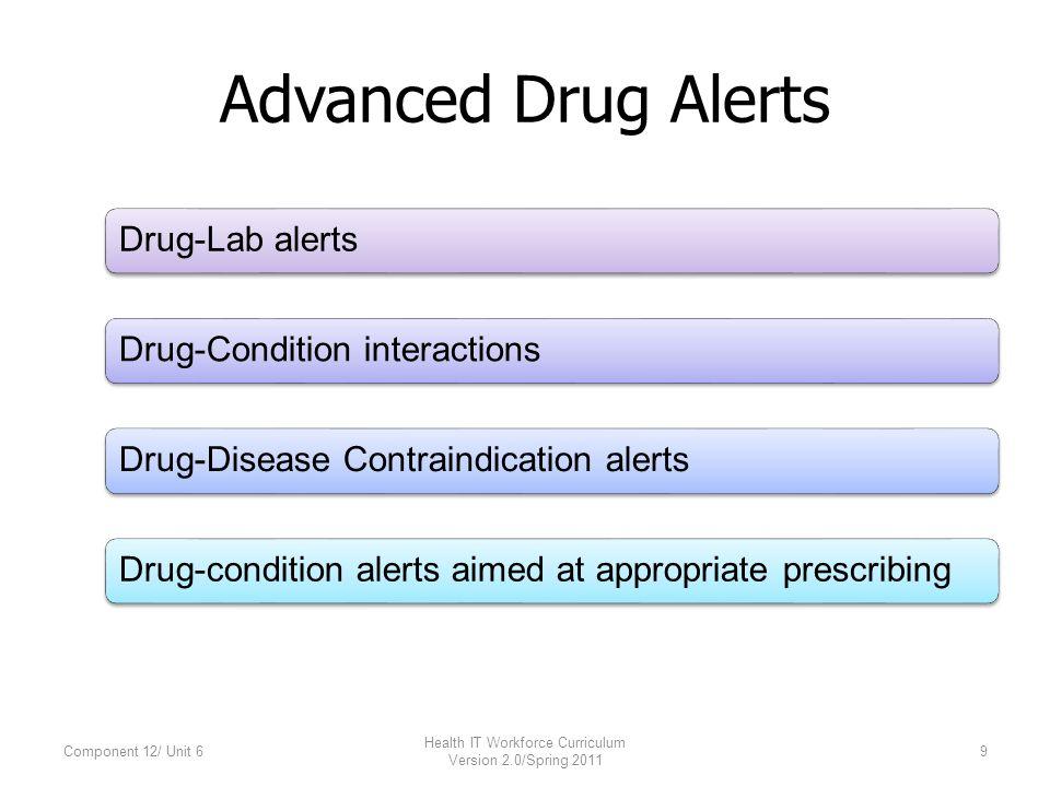 Advanced Drug Alerts Drug-Lab alertsDrug-Condition interactionsDrug-Disease Contraindication alertsDrug-condition alerts aimed at appropriate prescribing Component 12/ Unit 69 Health IT Workforce Curriculum Version 2.0/Spring 2011
