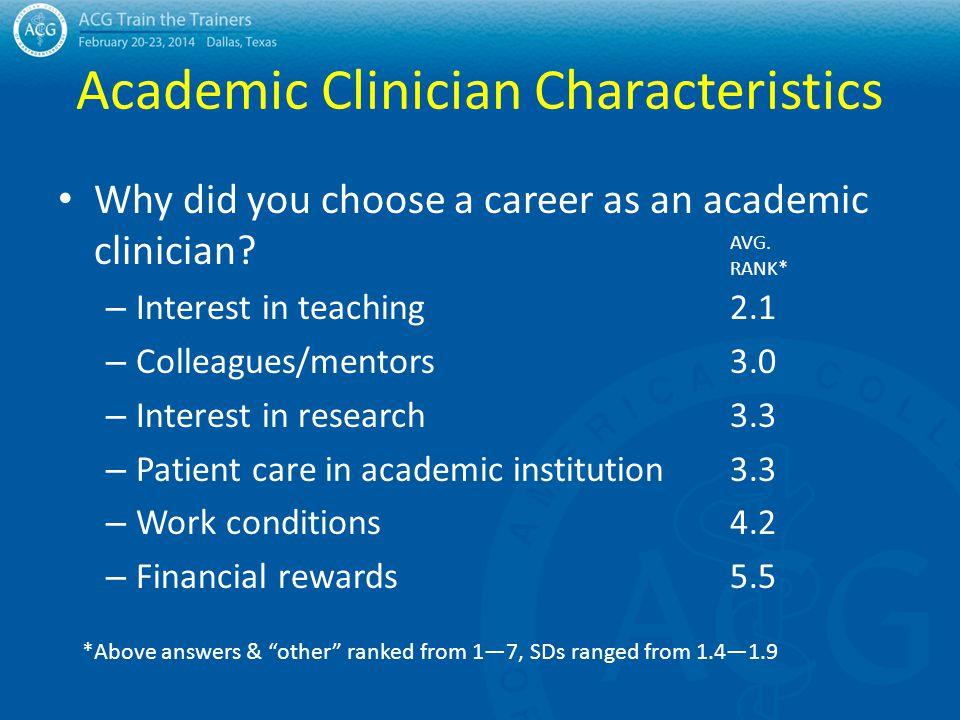 Academic Clinician Characteristics Why did you choose a career as an academic clinician.