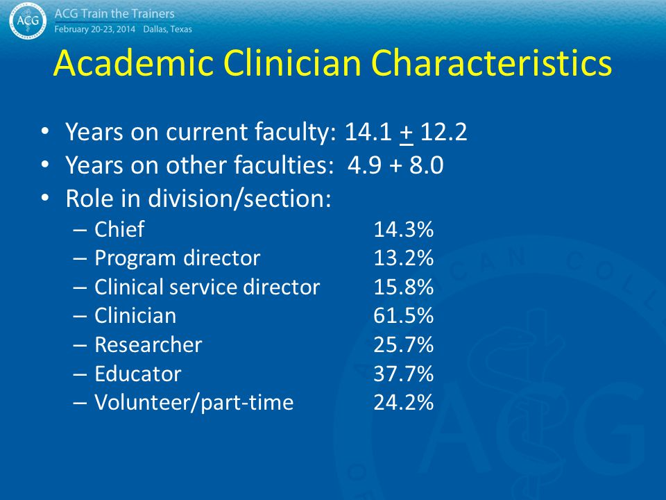 Academic Clinician Characteristics Years on current faculty: 14.1 + 12.2 Years on other faculties: 4.9 + 8.0 Role in division/section: – Chief14.3% –