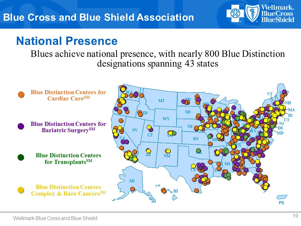 19 National Presence Blues achieve national presence, with nearly 800 Blue Distinction designations spanning 43 states Blue Distinction Centers for Cardiac Care SM Blue Distinction Centers for Bariatric Surgery SM Blue Distinction Centers for Transplants SM Blue Distinction Centers Complex & Rare Cancers SM Blue Cross and Blue Shield Association Wellmark Blue Cross and Blue Shield