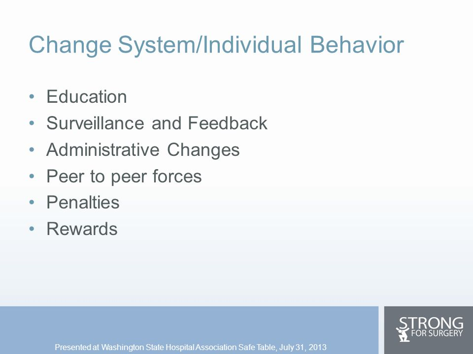Change System/Individual Behavior Education Surveillance and Feedback Administrative Changes Peer to peer forces Penalties Rewards Presented at Washin