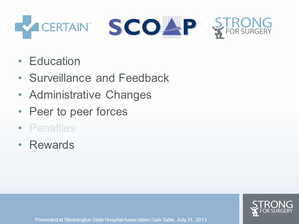 Education Surveillance and Feedback Administrative Changes Peer to peer forces Penalties Rewards Presented at Washington State Hospital Association Sa