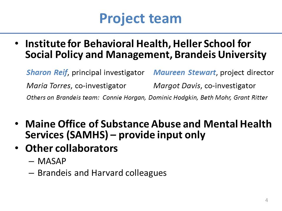 Project team Institute for Behavioral Health, Heller School for Social Policy and Management, Brandeis University Maine Office of Substance Abuse and Mental Health Services (SAMHS) – provide input only Other collaborators – MASAP – Brandeis and Harvard colleagues 4 Sharon Reif, principal investigatorMaureen Stewart, project director Maria Torres, co-investigatorMargot Davis, co-investigator Others on Brandeis team: Connie Horgan, Dominic Hodgkin, Beth Mohr, Grant Ritter