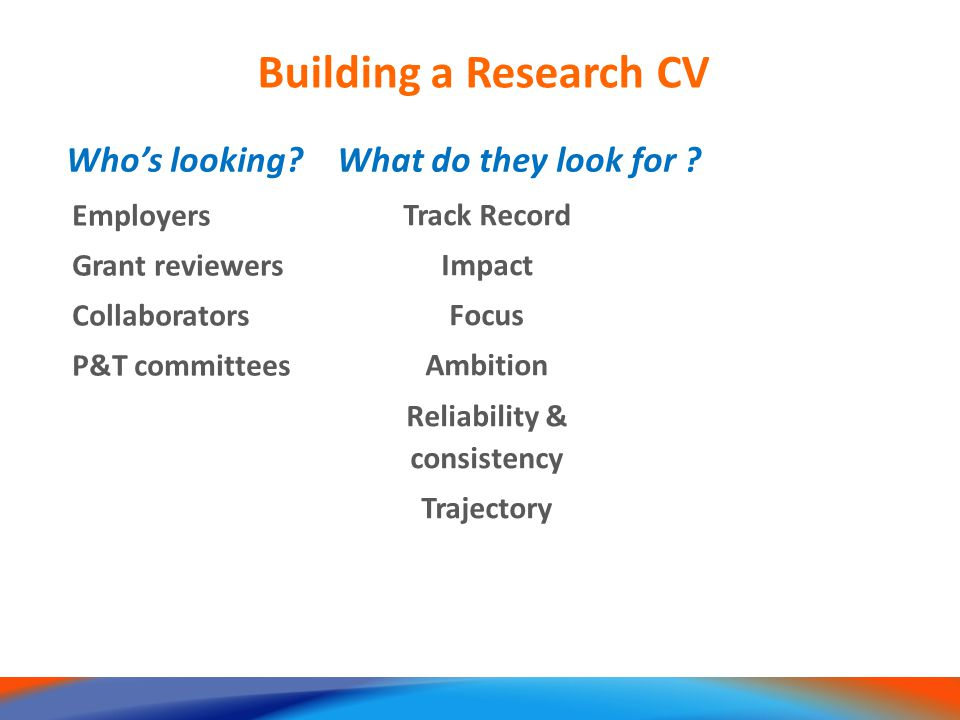 Employers Grant reviewers Collaborators P&T committees Building a Research CV Who's looking.