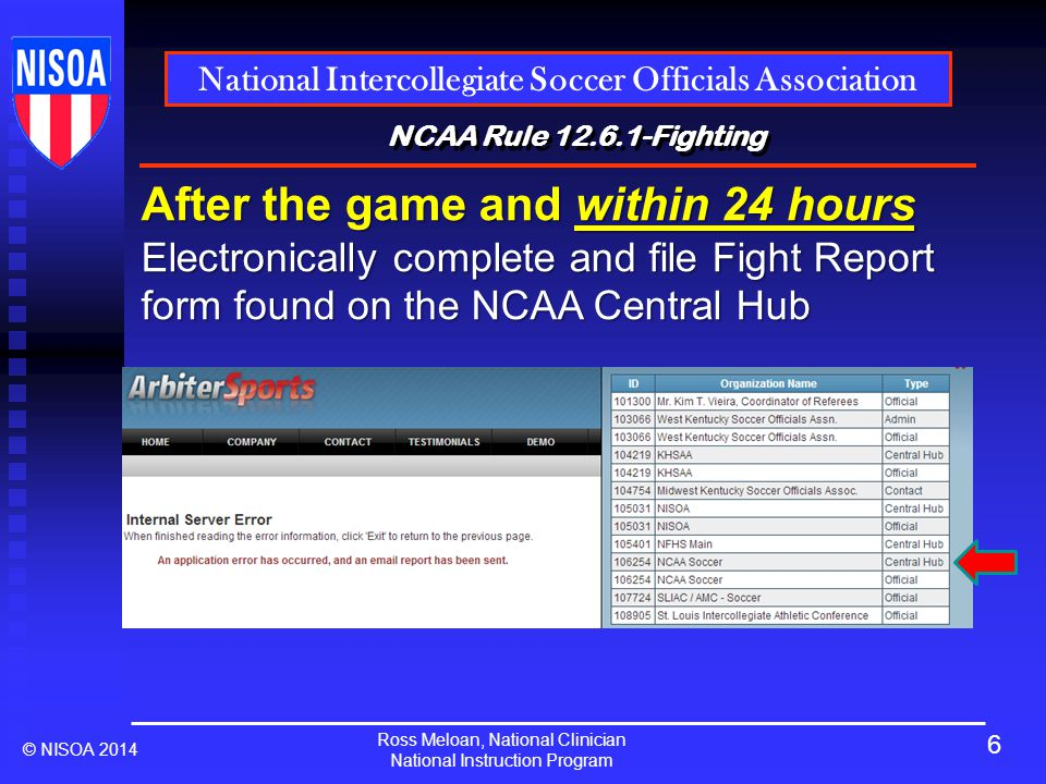 Ross Meloan, National Clinician National Instruction Program National Intercollegiate Soccer Officials Association © NISOA 2014 NCAA Rule 12.6.1-Fighting After the game and within 24 hours Electronically complete and file Fight Report form found on the NCAA Central Hub 6