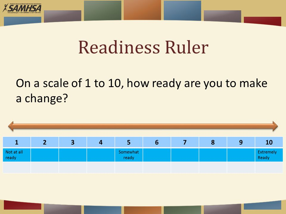 Readiness Ruler On a scale of 1 to 10, how ready are you to make a change?