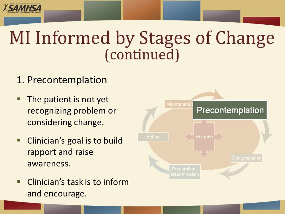 1.Precontemplation  The patient is not yet recognizing problem or considering change.  Clinician's goal is to build rapport and raise awareness.  C