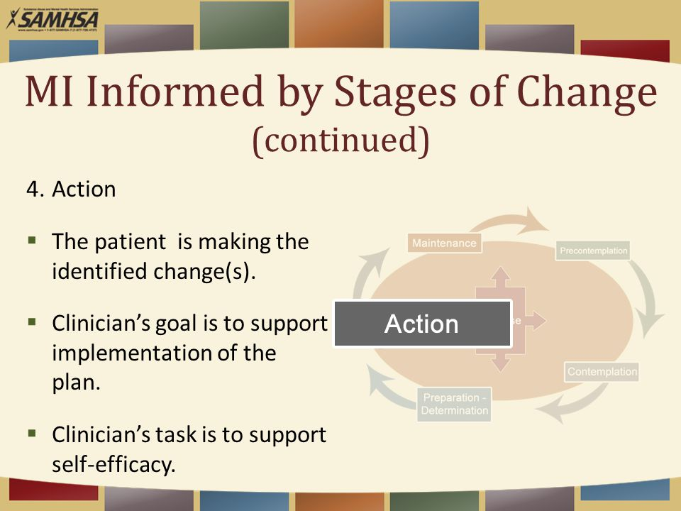 MI Informed by Stages of Change (continued) 4.Action  The patient is making the identified change(s).  Clinician's goal is to support implementation