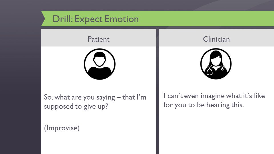 Drill: Expect Emotion PatientClinician I can't even imagine what it's like for you to be hearing this.