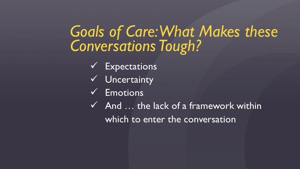 Goals of Care: What Makes these Conversations Tough.