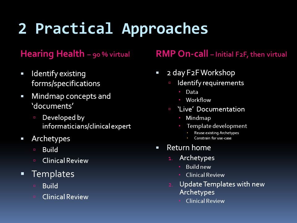 2 Practical Approaches RMP On-call – Initial F2F, then virtual Hearing Health – 90 % virtual  2 day F2F Workshop  Identify requirements  Data  Workflow  'Live' Documentation  Mindmap  Template development  Reuse existing Archetypes  Constrain for use-case  Return home 1.