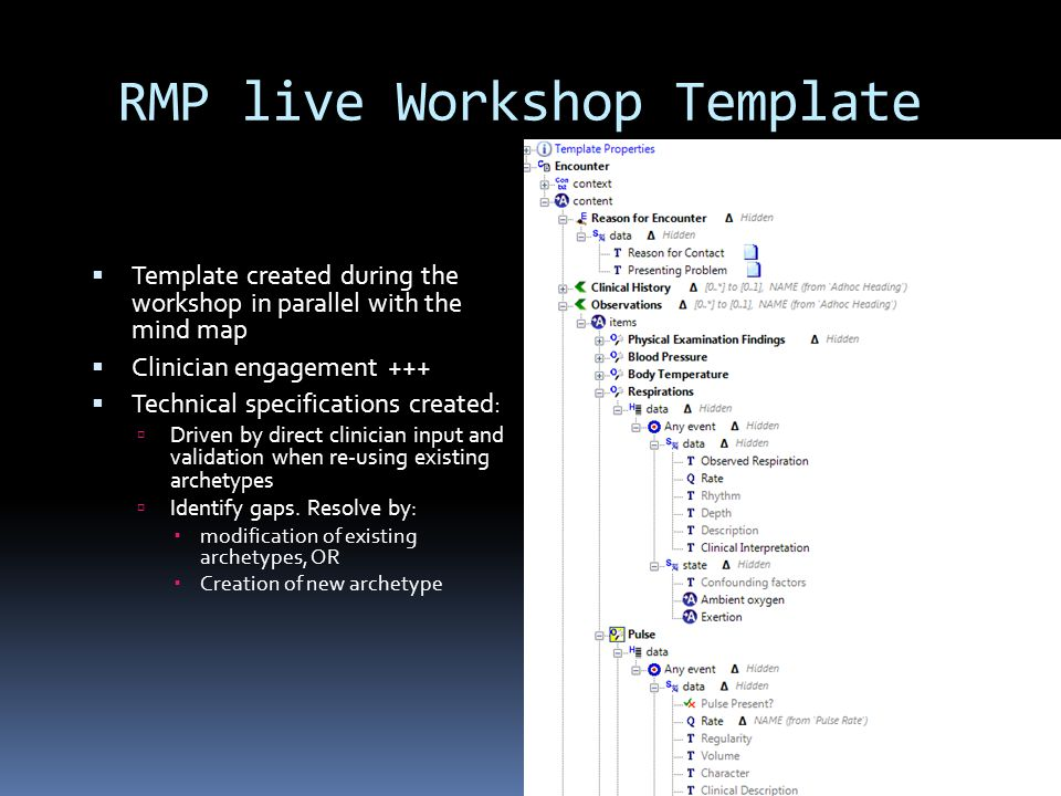 RMP live Workshop Template  Template created during the workshop in parallel with the mind map  Clinician engagement +++  Technical specifications created:  Driven by direct clinician input and validation when re-using existing archetypes  Identify gaps.