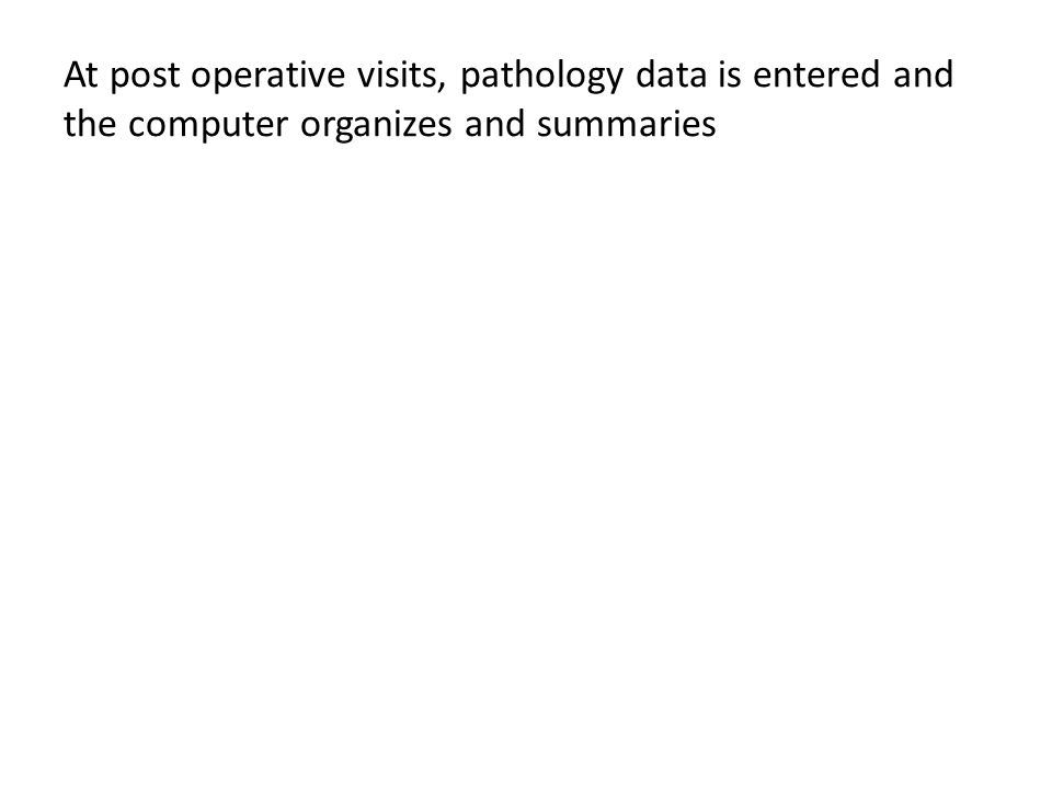 At post operative visits, pathology data is entered and the computer organizes and summaries