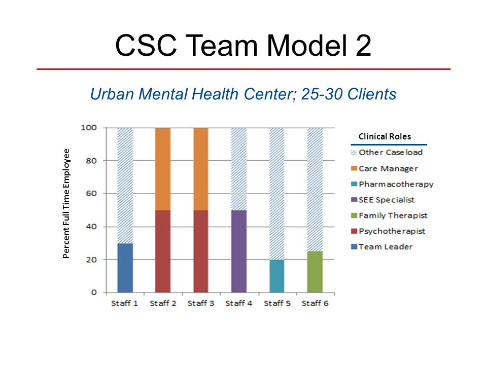 CSC Team Model 2 Urban Mental Health Center; 25-30 Clients Percent Full Time Employee Clinical Roles