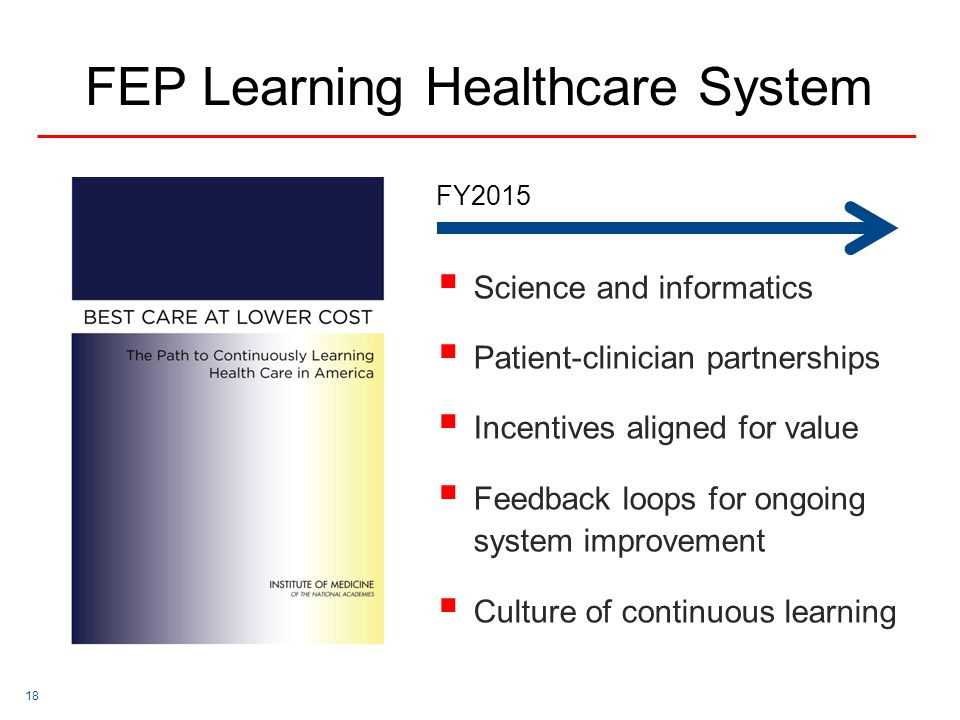 18  Science and informatics  Patient-clinician partnerships  Incentives aligned for value  Feedback loops for ongoing system improvement  Culture of continuous learning FEP Learning Healthcare System FY2015