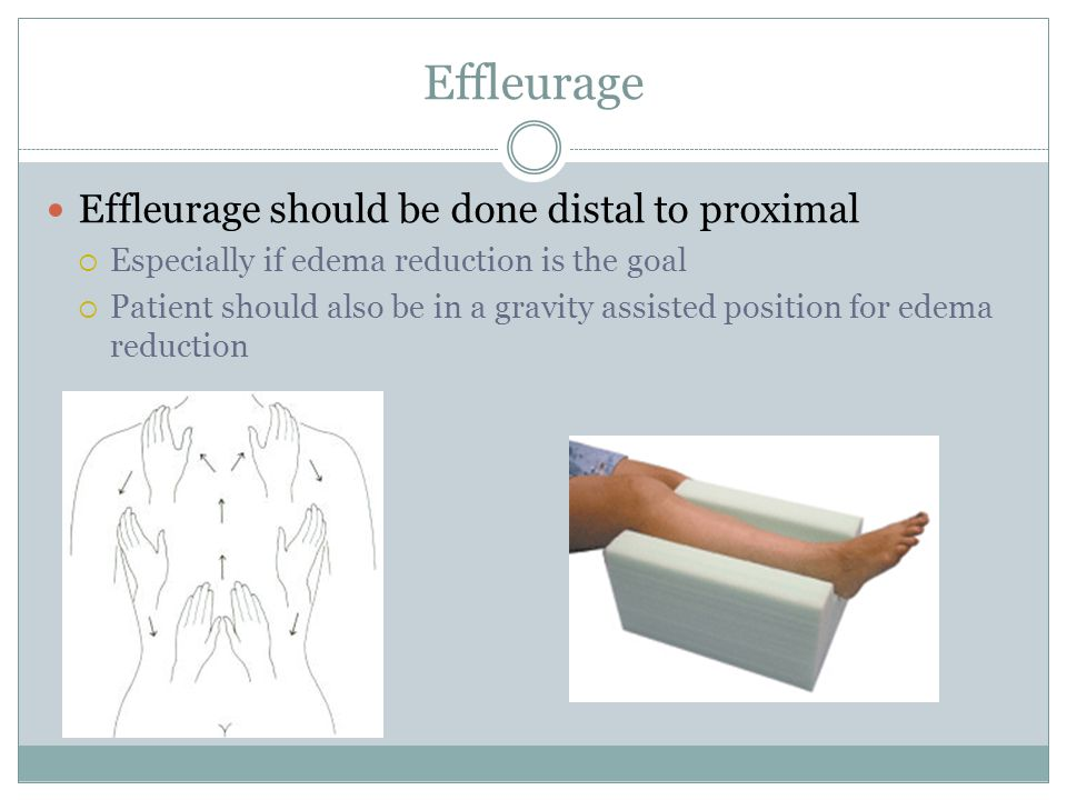 Effleurage Effleurage should be done distal to proximal  Especially if edema reduction is the goal  Patient should also be in a gravity assisted pos