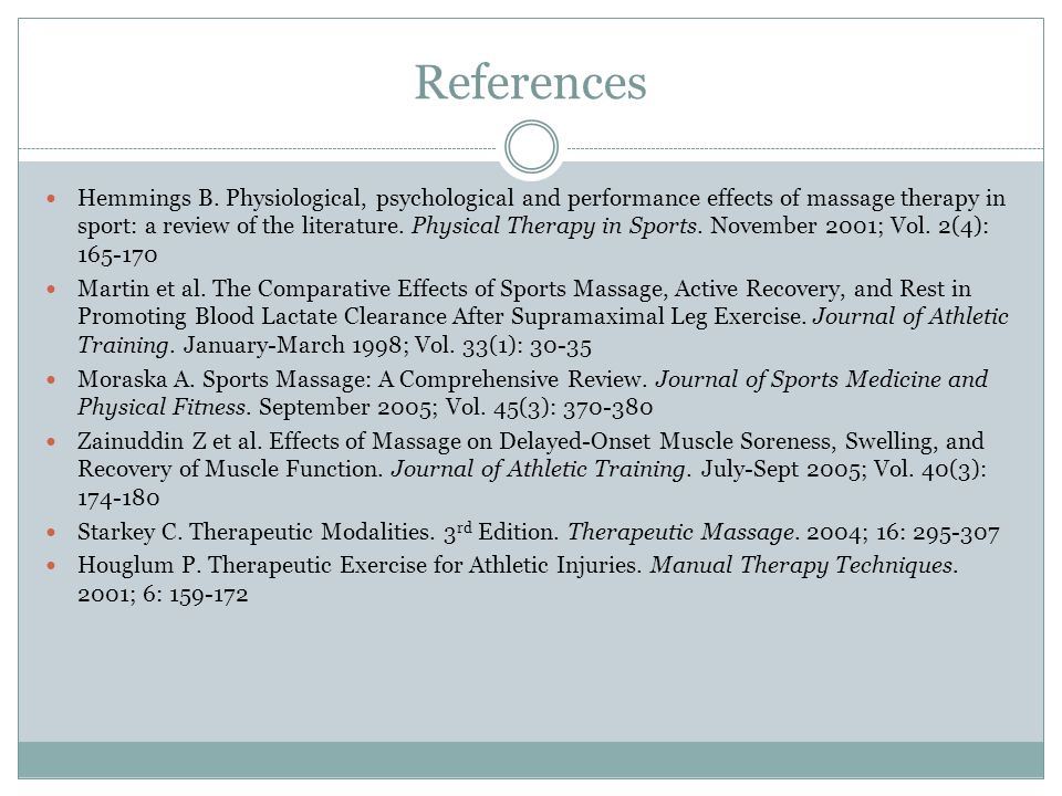 References Hemmings B. Physiological, psychological and performance effects of massage therapy in sport: a review of the literature. Physical Therapy