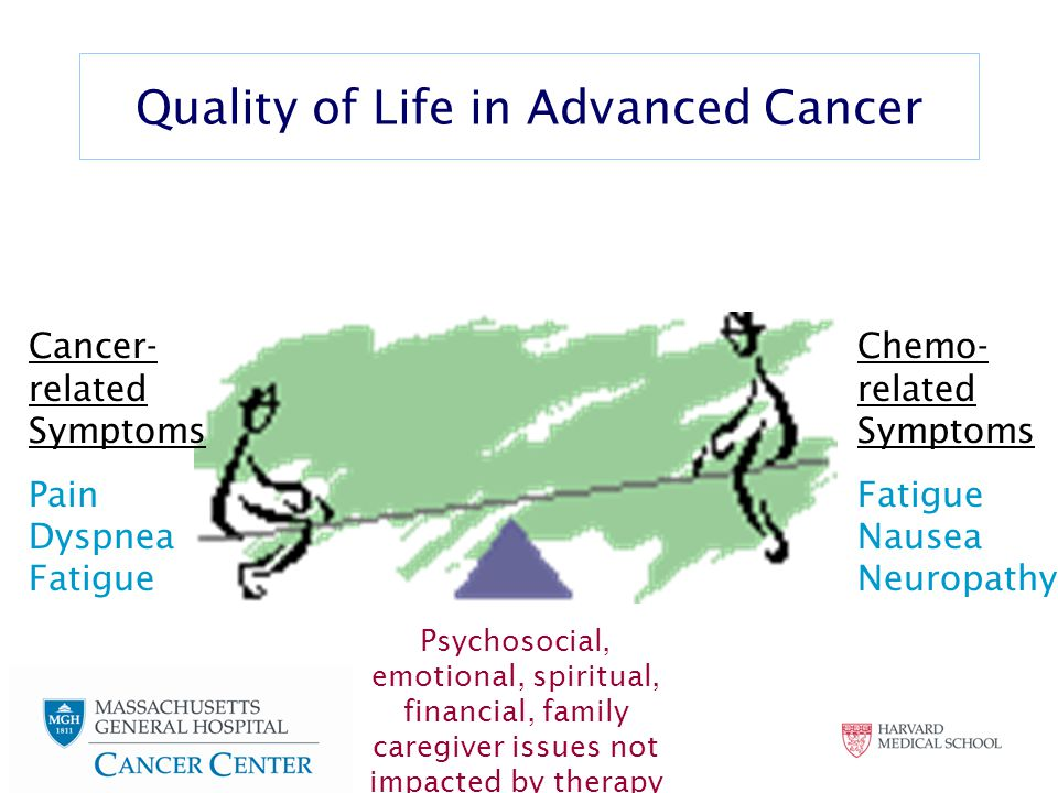 Cancer- related Symptoms Pain Dyspnea Fatigue Chemo- related Symptoms Fatigue Nausea Neuropathy Quality of Life in Advanced Cancer Psychosocial, emotional, spiritual, financial, family caregiver issues not impacted by therapy