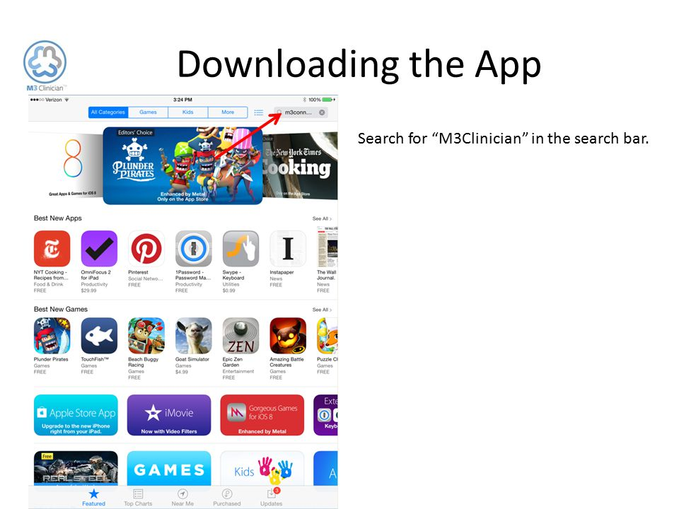 """Downloading the App Search for """"M3Clinician"""" in the search bar."""