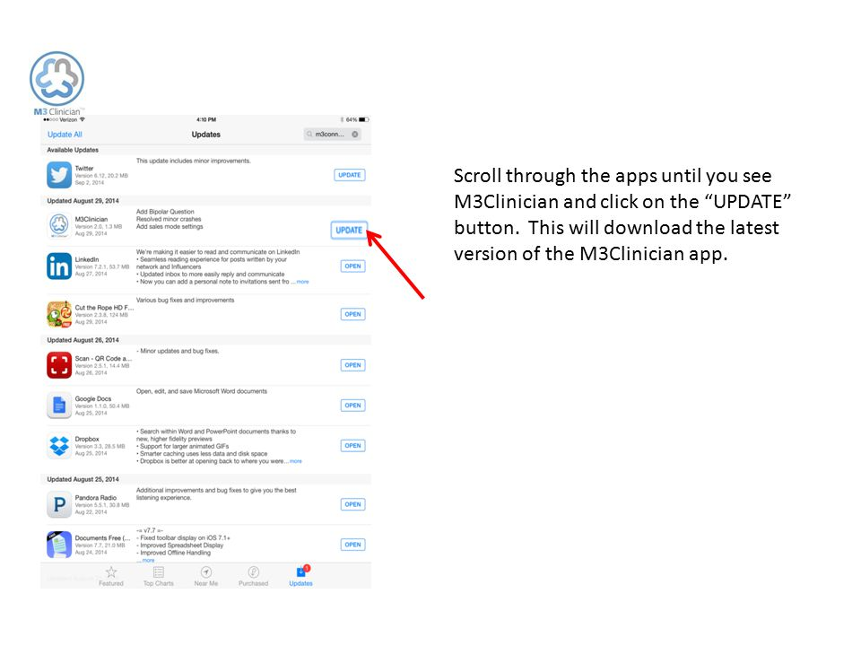 """Scroll through the apps until you see M3Clinician and click on the """"UPDATE"""" button. This will download the latest version of the M3Clinician app."""