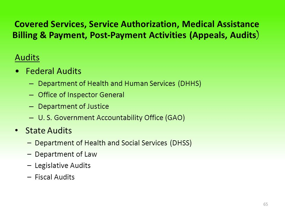 Covered Services, Service Authorization, Medical Assistance Billing & Payment, Post-Payment Activities (Appeals, Audits ) Audits Federal Audits – Department of Health and Human Services (DHHS) – Office of Inspector General – Department of Justice – U.