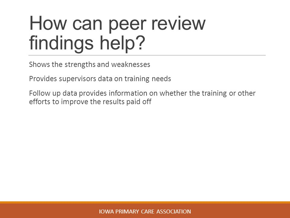 How can peer review findings help.