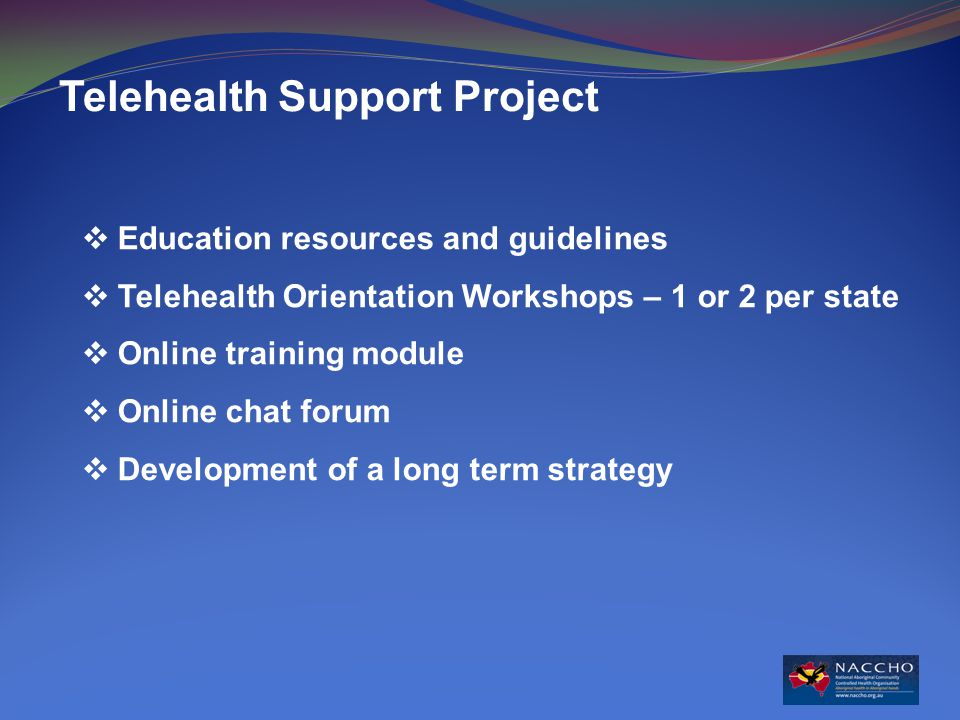 Telehealth Support Project  Education resources and guidelines  Telehealth Orientation Workshops – 1 or 2 per state  Online training module  Online chat forum  Development of a long term strategy
