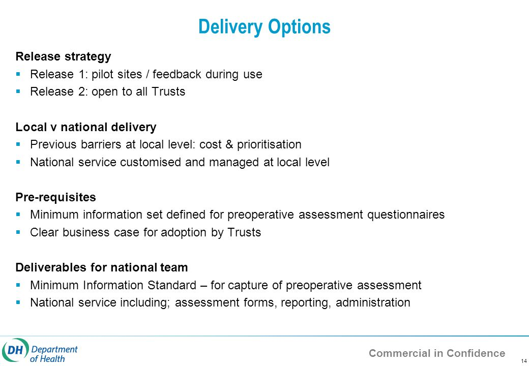 Commercial in Confidence 14 Delivery Options Release strategy  Release 1: pilot sites / feedback during use  Release 2: open to all Trusts Local v national delivery  Previous barriers at local level: cost & prioritisation  National service customised and managed at local level Pre-requisites  Minimum information set defined for preoperative assessment questionnaires  Clear business case for adoption by Trusts Deliverables for national team  Minimum Information Standard – for capture of preoperative assessment  National service including; assessment forms, reporting, administration