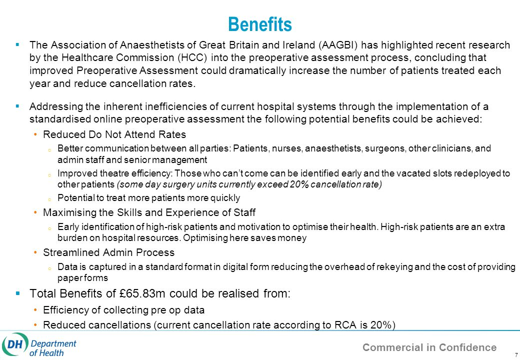 Commercial in Confidence Benefits  The Association of Anaesthetists of Great Britain and Ireland (AAGBI) has highlighted recent research by the Healthcare Commission (HCC) into the preoperative assessment process, concluding that improved Preoperative Assessment could dramatically increase the number of patients treated each year and reduce cancellation rates.