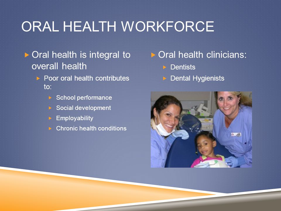 ORAL HEALTH WORKFORCE  Oral health is integral to overall health  Poor oral health contributes to:  School performance  Social development  Employability  Chronic health conditions  Oral health clinicians:  Dentists  Dental Hygienists
